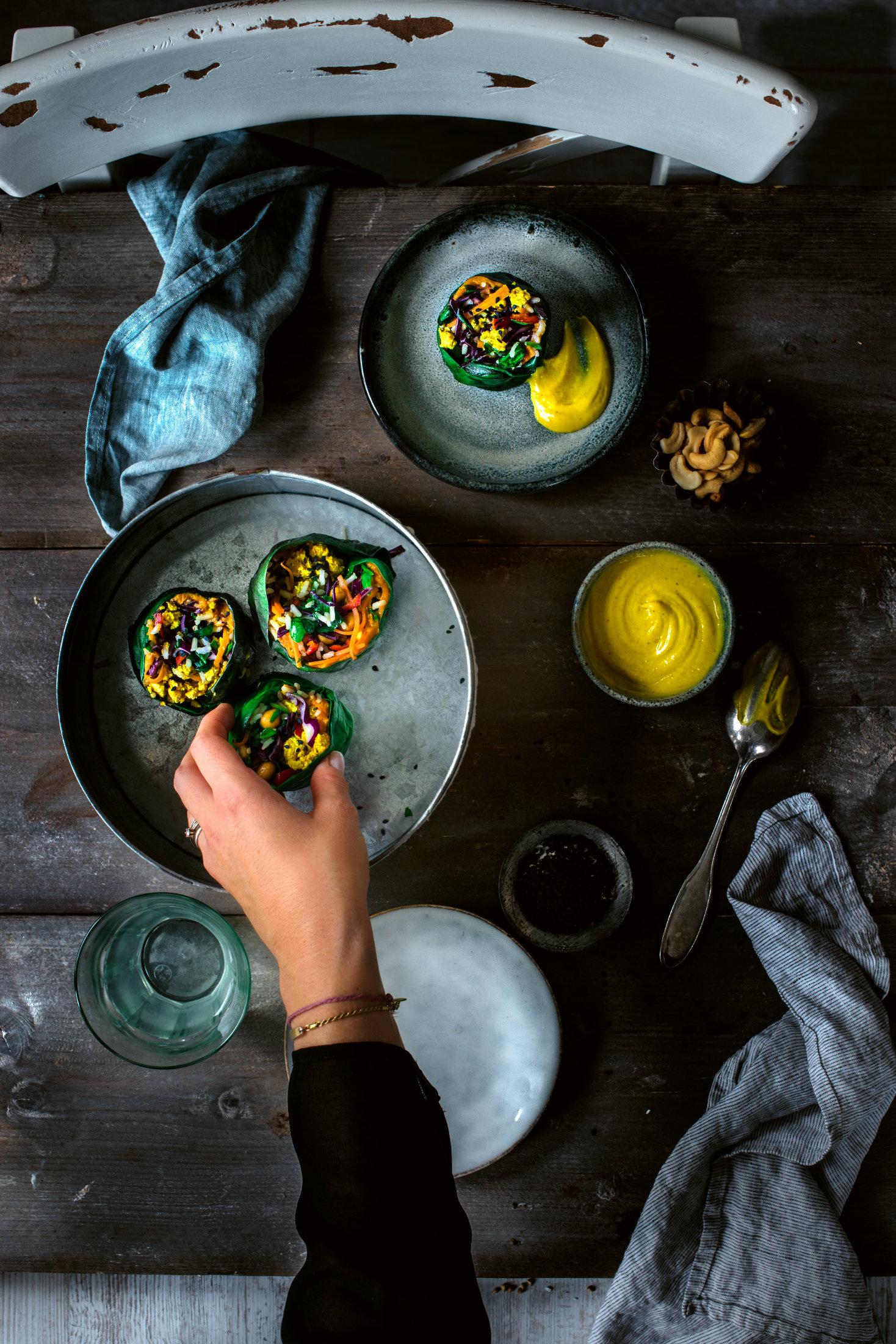 Curry Mangold-Wraps mit Süßkartoffel-Hummus
